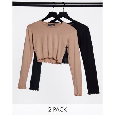 ミスガイデッド Missguided レディース ベアトップ・チューブトップ・クロップド 2点セット 2 Pack Long Sleeve Crop Tops In Black And Camel