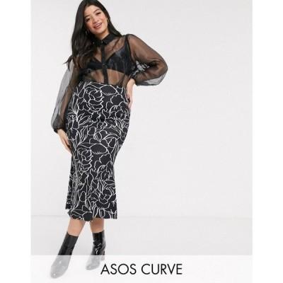 エイソス ASOS Curve レディース ひざ丈スカート スリップスカート スカート ASOS DESIGN Curve bias slip midi skirt in mono floral モノフローラル