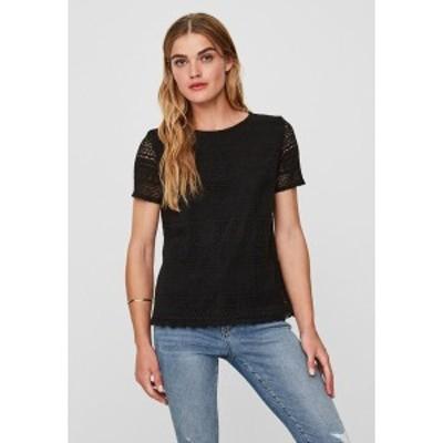 ヴェロモーダ レディース Tシャツ トップス Print T-shirt - black black