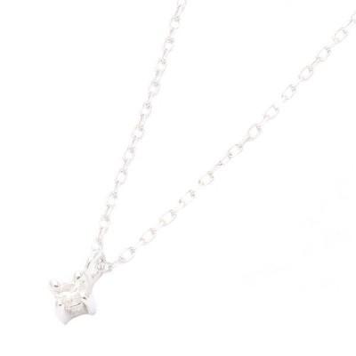 天然ダイヤモンド使用1粒ダイヤのシンプルネックレスK10ホワイトゴールドの美しい輝き 宝石鑑別書カード付き