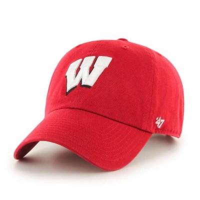 ユニセックス スポーツリーグ アメリカ大学スポーツ Wisconsin Badgers '47 Brand Clean Up Adjustable Hat 帽子