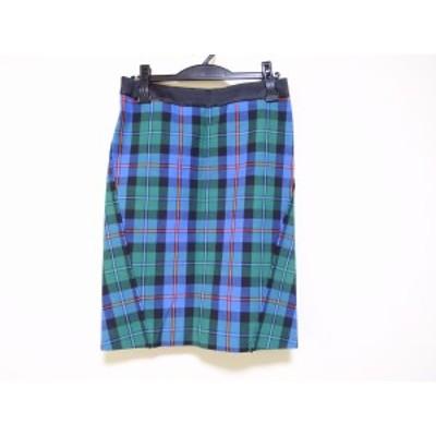 ドゥロワー Drawer スカート サイズ36 S レディース 美品 - ブルー×グリーン×マルチ ひざ丈/チェック柄【中古】20201212