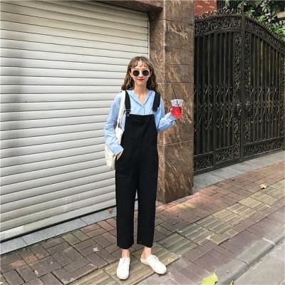 春夏新作 9分丈  サロペット ハイウエスト ブラック無地オーバーオールジーンズ オールインワン ゆったり ズボン  韓国ファッション