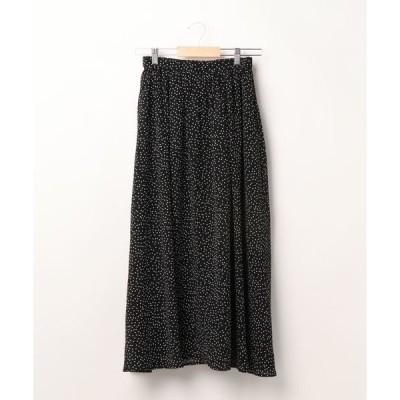 スカート ドット柄楊柳スカート