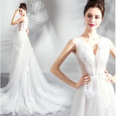ウェディングドレス Vネック パーティドレス トレーン スタイリッシュ フォマール フェミニン 撮影 演奏会 結婚式 お呼ばれドレス ファス
