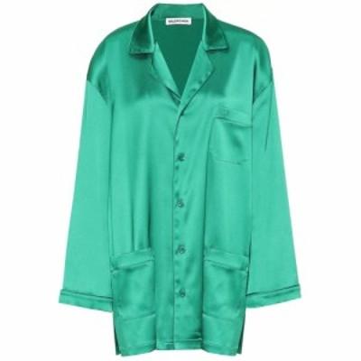 バレンシアガ Balenciaga レディース ブラウス・シャツ トップス Oversized satin pajama shirt Emerald