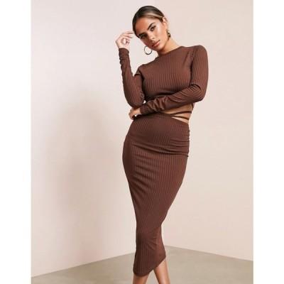 エイソス ASOS DESIGN レディース ワンピース ミドル丈 ワンピース・ドレス Asos Luxe Long Sleeve Strappy Rib Midi Dress In Chocolate チョコレート