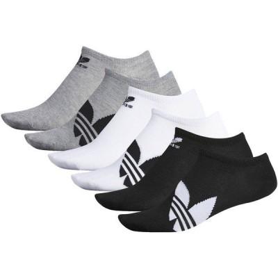 アディダス 靴下 アンダーウェア メンズ adidas Originals Men's Trefoil Superlite No Show Socks - 6 Pack Black/White/Grey