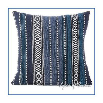 【新品】インドの目???ブルーDhurrie装飾スローソファソファ枕クッションカバーインディアンボヘミア