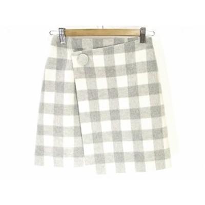 【中古】ウィルセレクション WILLSELECTION 美品 ラップ風 スカート 台形 ミニ ショート チェック S グレー ホワイト