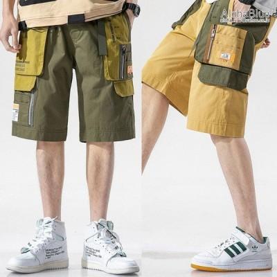 カーゴパンツ 短パン ミリタリーファッション ワークパンツ ハーフパンツ ショートカーゴパンツ 100%コットン ストリート系 メンズ
