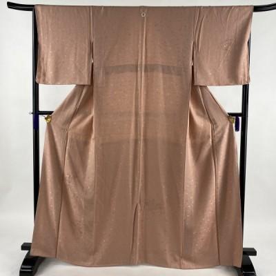 付下げ 美品 優品 一つ紋 扇 御所車 ピンク 袷 165.5cm 65cm M 正絹 中古