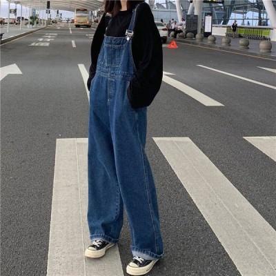 デニムサロペット韓国ファッション着痩せ可愛いレディースデニムワンピースレディースオーバーオールジーンズ生地ジャンパース9L18