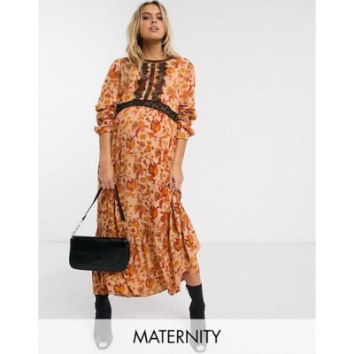 ママライシアス レディース ワンピース トップス Mamalicious Maternity maxi dress with lace insert in rust paisley