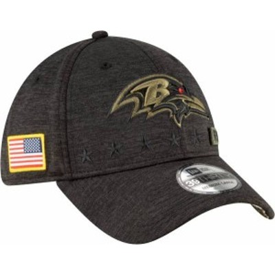 ニューエラ メンズ 帽子 アクセサリー New Era Men's Salute to Service Baltimore Ravens 39Thirty Stretch Fit Black Hat
