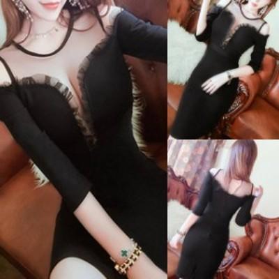 ブラックドレス ワンピース レディース シースルー 胸スリット結婚式 二次会 お呼ばれ ドレス 20代 30代 40代 タイトデザイン