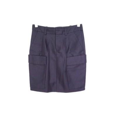 バレンシアガ 36(約S) 2タック 膝上 ローライズ スカート サファリ ワーク タイト コットン混 紺 ネイビー 美品 BALENCIAGA 2999g