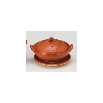 和食器 メ395-067 4号赤楽浅鍋(受皿付)
