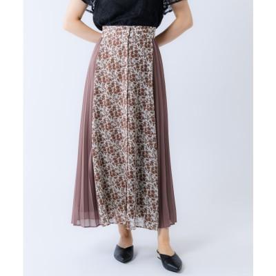 【Rewde】サイドプリーツオリエンタルフラワースカート(0R10-07168) (モカ)