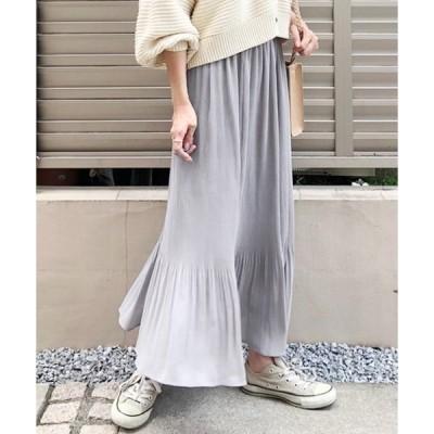 スカート 【洗濯機で洗える】【消臭効果】切り替えプリーツ フレアースカート