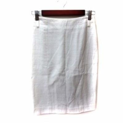 【中古】ルシェルブルー LE CIEL BLEU タイトスカート ひざ丈 36 白 ホワイト /YI レディース