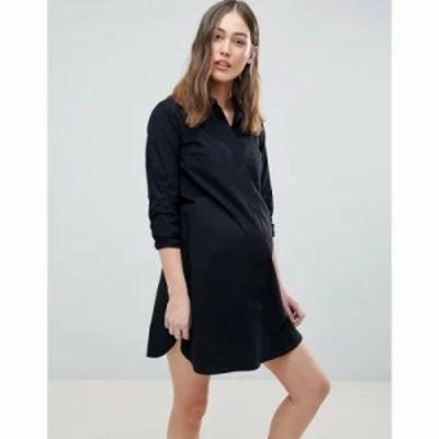 エイソス ワンピース ASOS DESIGN Maternity Cotton Mini Shirt Dress Black