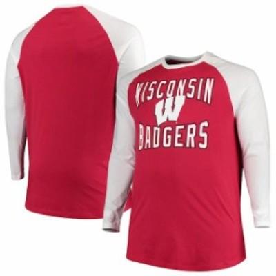 Colosseum コロセウム スポーツ用品  Colosseum Wisconsin Badgers Red/White Big And Tall Cajun Long Sleeve Raglan T-Shirt