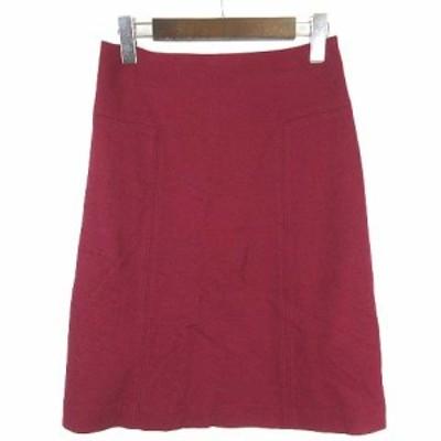 【中古】ナチュラルビューティー NATURAL BEAUTY スカート ひざ丈 台形 ウール ワインレッド 赤 38 ■VG レディース