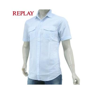 プライスダウン/LAST1/XLサイズ/リプレイ/REPLAY メンズ 半袖シャツ M4988P 52086/ライトブルー/ホワイト/020/ストライプ/セール