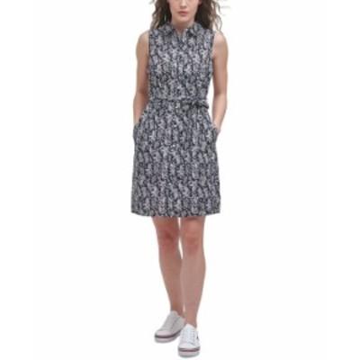 トミー ヒルフィガー レディース ワンピース トップス Printed Sleeveless Cotton Dress Summerset Stencil- Sky Captain/ivory