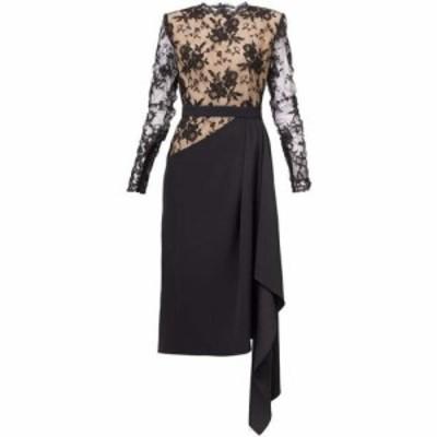 アレキサンダー マックイーン Alexander McQueen レディース パーティードレス ワンピース・ドレス Draped crepe and lace dress Black