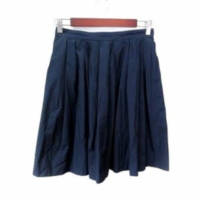 【中古】シップス SHIPS フレアスカート ギャザー ひざ丈 38 紺 ネイビー /YI レディース