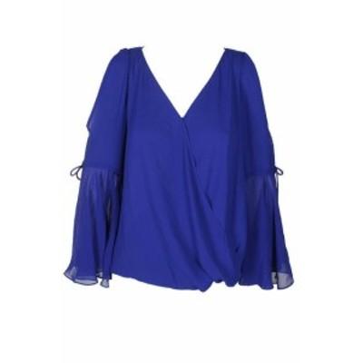 bell ベル ファッション トップス Inc International Concepts Royal Blue Sheer Cold-Shoulder Bell Sleeve Blouse S