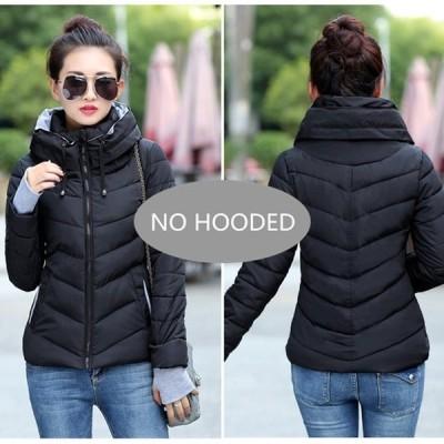 2019 新レディースファッションコート冬のジャケットの女性は上着ショートキルトジャケット女 No Hooded--Black L