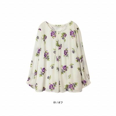 【29%OFF】ジョーゼット花柄プリントブラウス【LL―5L】(フルールバイミントブリーズ/fleur by mint breeze)