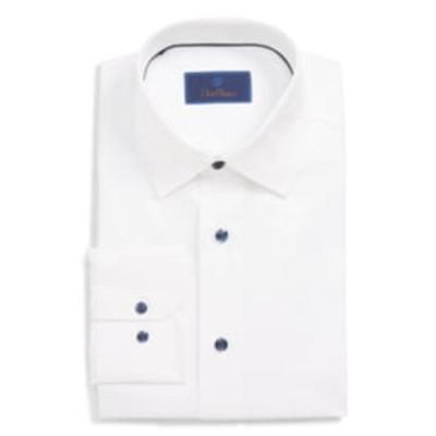 デイビッドドナヒュー シャツ トップス メンズ Regular Fit Dress Shirt White