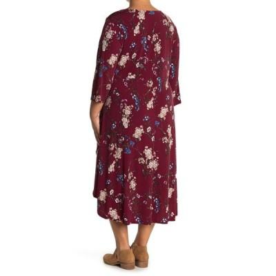 ウエスト ケイ レディース ワンピース トップス Knit Long Sleeve Asymmetrical Dress WINE FLORAL