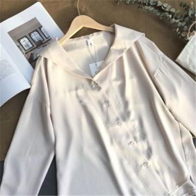 トップス ブラウス 長袖 シフォン 無地 シンプル シャツ 上品 カジュアル 結婚式 パーティー Vネック  smartstore 送料無料!