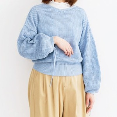 【merlot メルロー】ワッフル編み ドロスト スリーブ コットン ニット 長袖 顔周りすっきり フリーサイズ