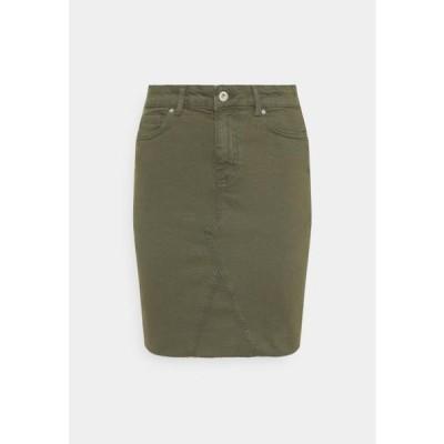 レディース ファッション ONLFAN LIFE SKIRT RAW EDGE - Mini skirt - kalamata