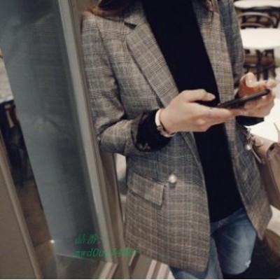チェック柄フォーマルスーツジャケット 普段着 オフィスレディース 通勤 カジュアル ロングトレンチ 韓国ファッション ユニック チェック