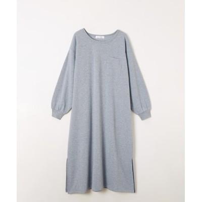 裏起毛素材裾スリットフレアロング丈ワンピース (ワンピース)Dress