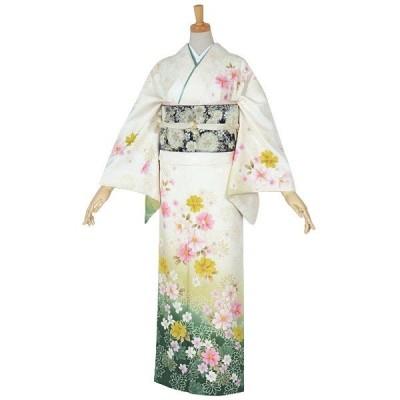 袷 訪問着 レンタル 結婚式 入学式 卒業式 白×緑濃淡 菊・秋桜 対応身長160〜164cm H684