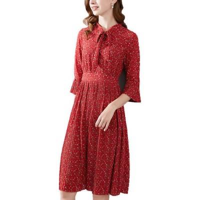 ワンバイ ワンピース トップス レディース Onebuye Dress red/white/brown flowers