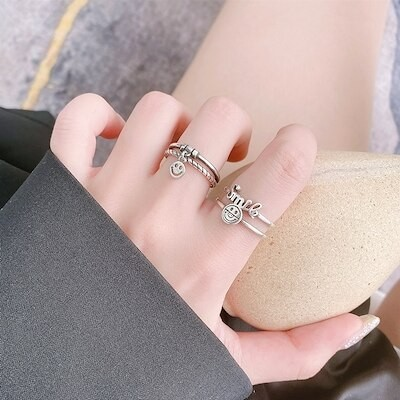 指輪 レディース 韓国S925スターリングシルバーリング女性レトロピッグノーズレターダブルスマイリーフェイスオープニング調節可能な人差し指リングリング
