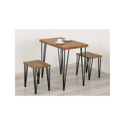 アートダイニング3点セット(テーブル・チェア2脚) ヴィンテージブラウン 【組立品】ds-2332127 送料無料