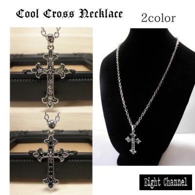 ネックレス クロス 十字架 百合の紋章 シルバー オニキス 黒 ブラック きれいめ ゴシック V系 バンギャRock ロック アメカジ