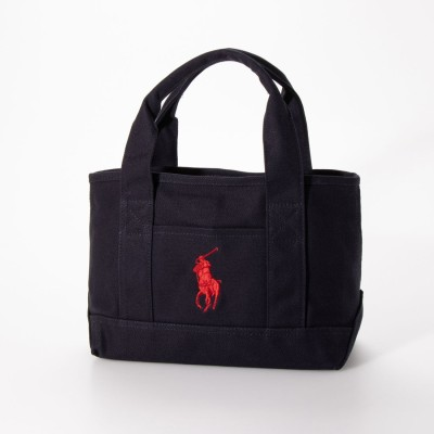 ポロラルフローレン POLO RALPH LAUREN マグネット開閉 School Tote Small II (NAVY-RED)