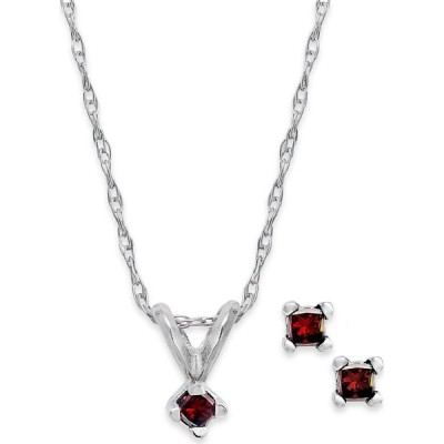 メイシーズ Macy's ユニセックス イヤリング・ピアス 10k White Gold Red Diamond Necklace and Earrings Set (1/10 ct. t.w.) No Color