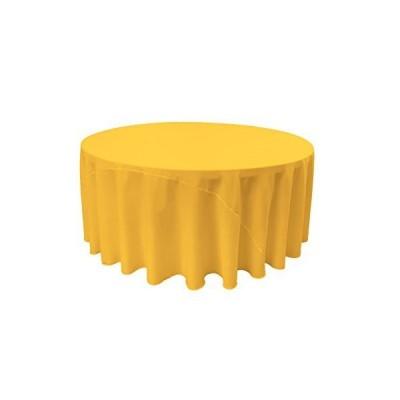 LA Linen Polyester Poplin Round Tablecloth, 120-Inch, Dark Yellow